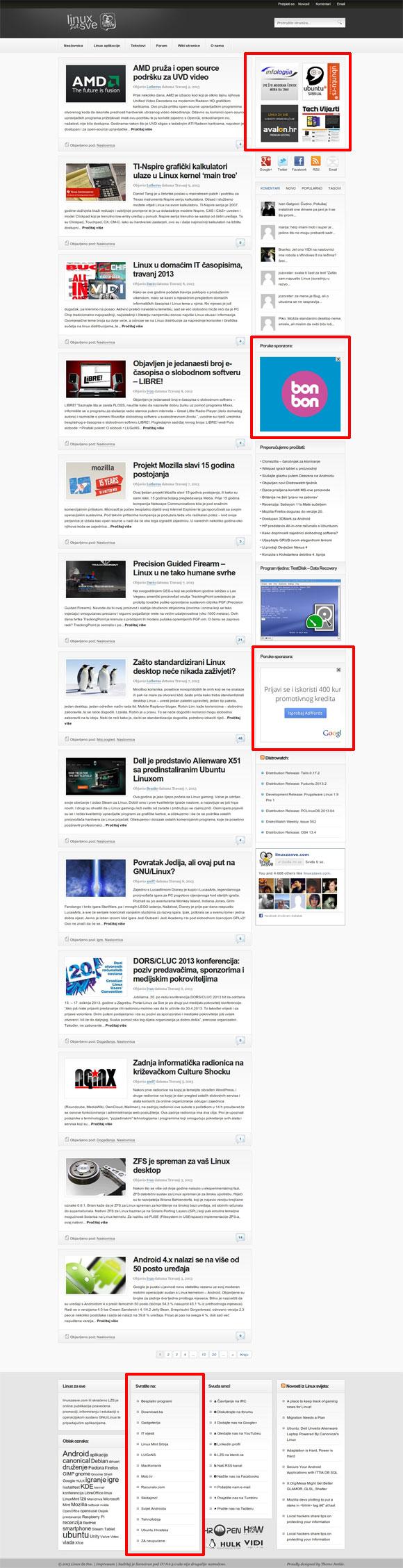Linux za Sve pregled web stranice