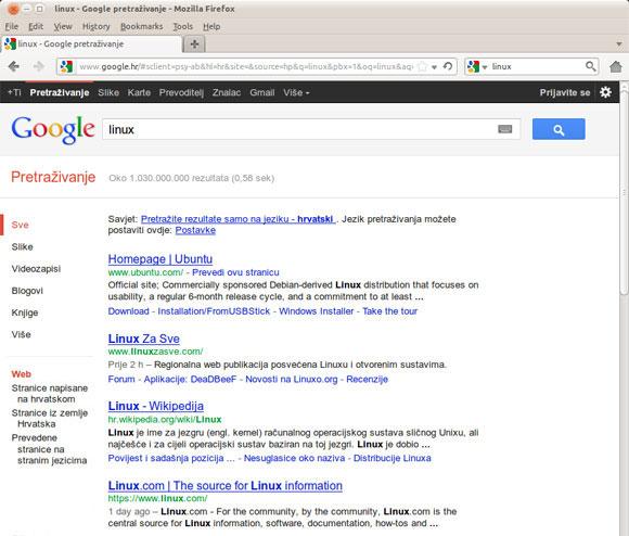 Linux za Sve drugi na Google tražilici