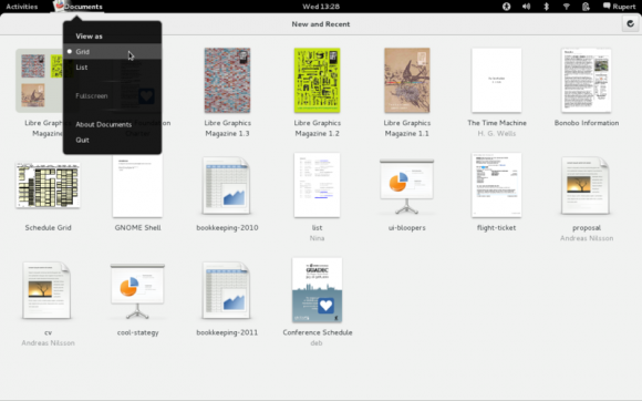 Applications menu GNOME 3.4