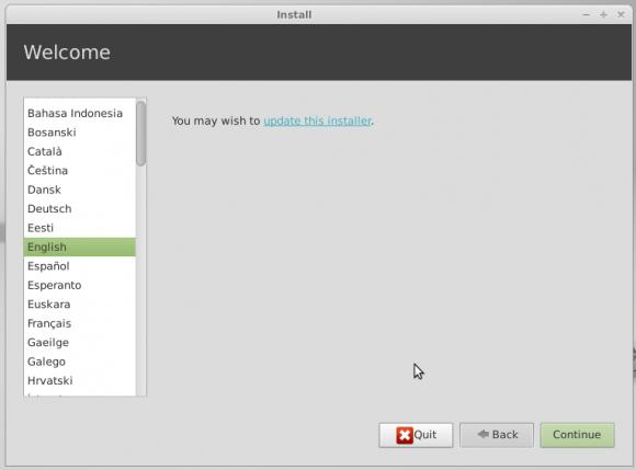 Mint instalacija - odabir jezika