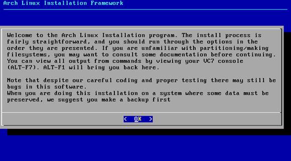 Arch Linux instalacijski postupak