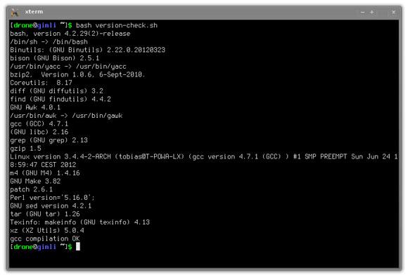 LFS provjera zadovoljava li host, u ovom slučaju Arch Linux, uvjete za izgradnju