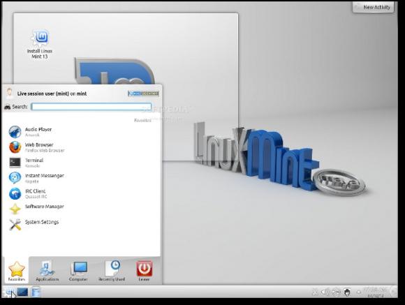 Mint 13 KDE startup meni