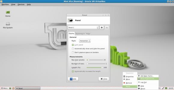 Mint 13 Xfce Panel Preferences