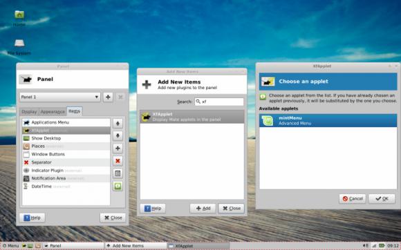Mint 13 Xfce - XfApplet mintMenu
