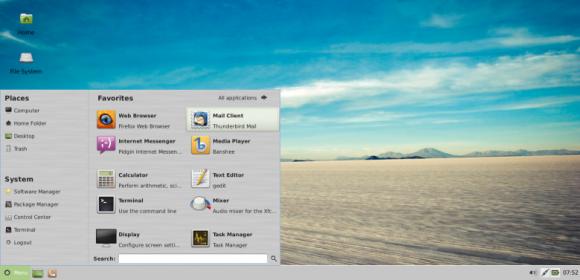 Mint 13 Xfce - mintMenu
