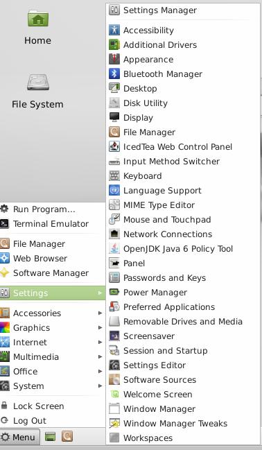 Mint 13 Xfce startup menu 2