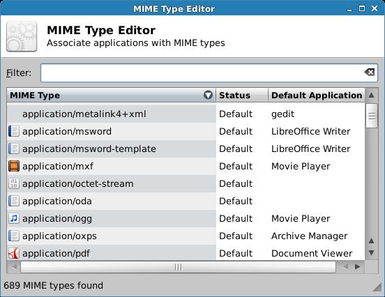 Xfce MIME Type Editor