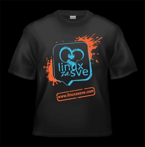 Grunge Linux za Sve majica u plavo-narandžastoj kombinaciji boja.