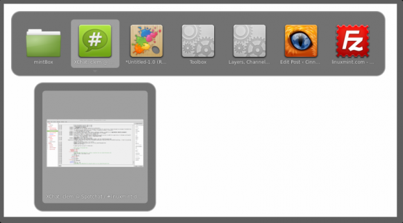 Cinnamon - Alt+Tab s ikonama i umanjenim sličicama