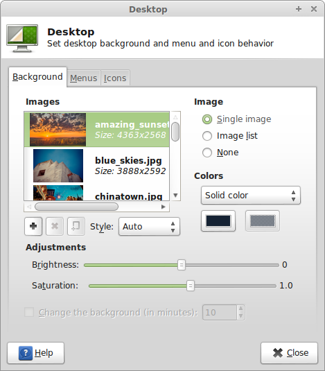 Mint 14 Xfce - Desktop Settings