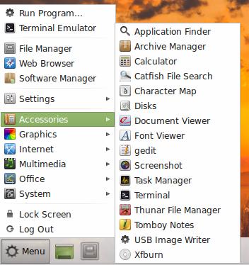Mint 14 Xfce - Xfce meni