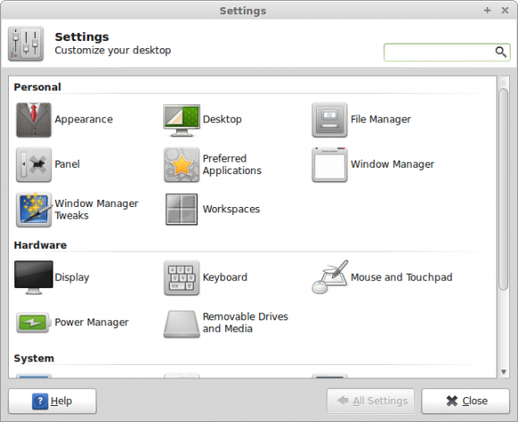 Mint 14 Xfce - Settings Manager