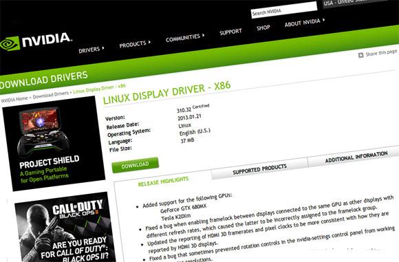 Nvidia objavila nove upravljačke programe za Linux brojčazne oznake 310.32