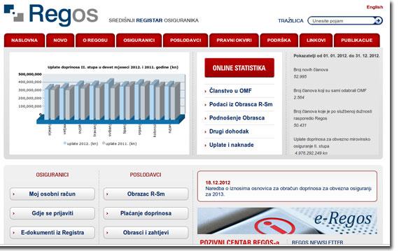 Web stranice REGOS-a
