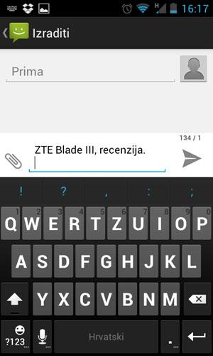 ZTE Blade III tipkovnica