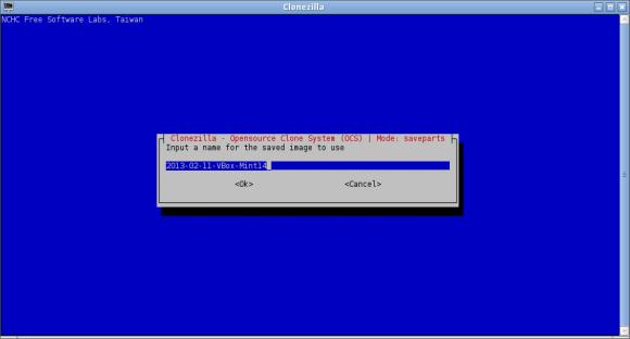 Clonezilla - naziv backup direktorija