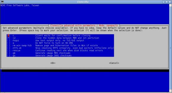 Clonezilla - dodatni parametri za backup