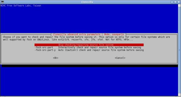 Clonezilla - provjera datotečnog sustava?