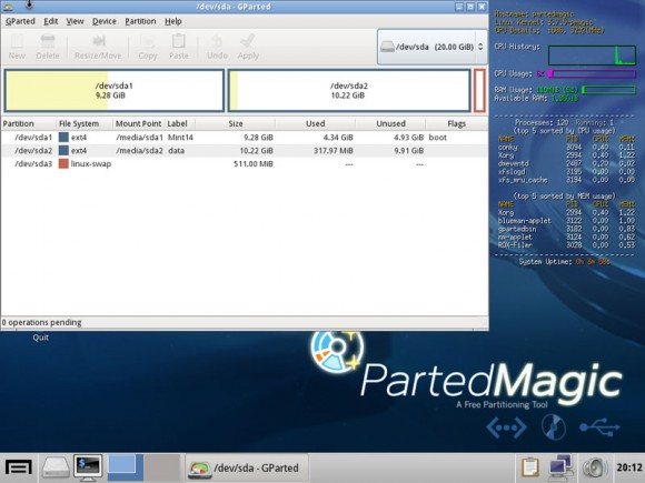 Gparted - prikaz particija našega testnog diska