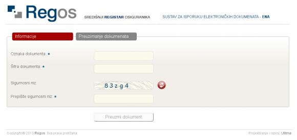 REGOS-ov sustav za isporuku elektroničkih dokumenata - Ena