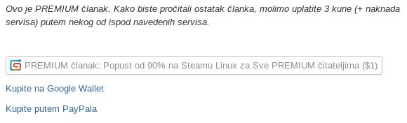 PREMIUM sadržaji će sadržavati ovakav tekst i poveznice na servise za plaćanje.