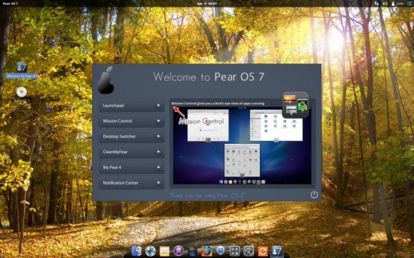 Pear Linux 7 - Welcome to Pear OS 7 - Mission control