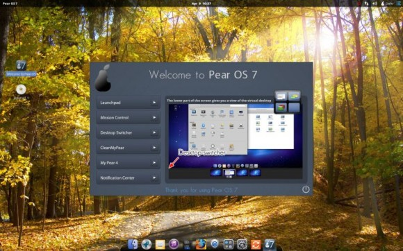 Pear Linux 7 - Welcome to Pear OS 7 -Desktop switcherl