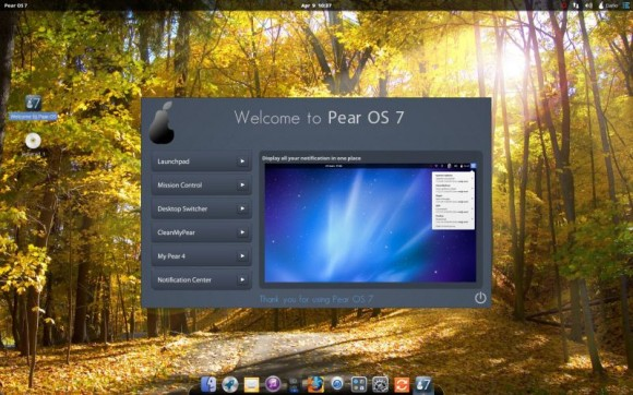 Pear Linux 7 - Welcome to Pear OS 7 - Notification Center