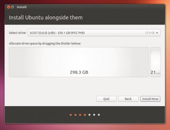 Klizačem odredite koliki prostor ćete dati Ubuntuu i to je to.