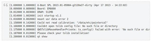 Linux boot log