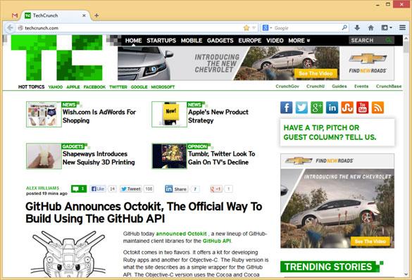 Mogući izgled Firefox web preglednika