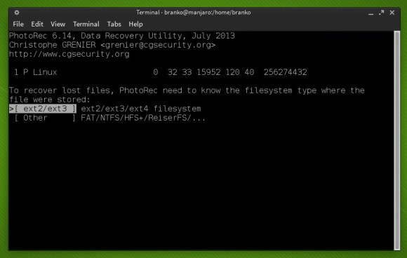 Photorec - Odabir datotečnog sustava