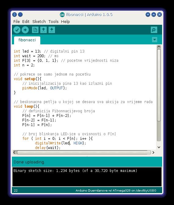 Sučelje kroz koje se piše kod, odnosno shema za Arduino