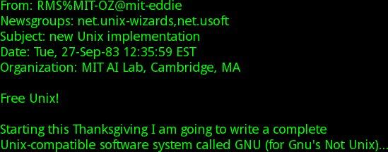 Početak Stallmanovog maila