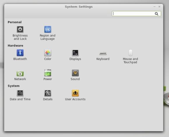 Prozor za podešavanje sustava nudi skroman izbor programa