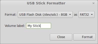 USB Stick Formatter (izvor Linux Mint Blog)