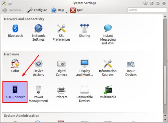 KDE Connect - System Settings Izvor: http://xmodulo.com/integrate-android-kde-linux-desktop.html