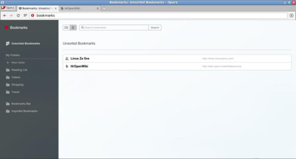 Opera 25 - Prikaz spremljenih stranica u bookmark manageru