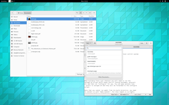 GNOME 3.14 - Files i Gedit