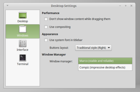 Mint 17.1 - promjena window managera Izvor: http://www.linuxmint.com/rel_rebecca_mate_whatsnew.php