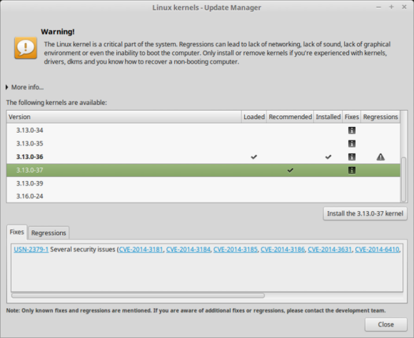 Mint 17.1 - odabir kernela Izvor: http://www.linuxmint.com/rel_rebecca_mate_whatsnew.php