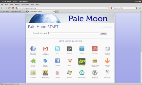 Pale Moon 25.0.2 - Start Page
