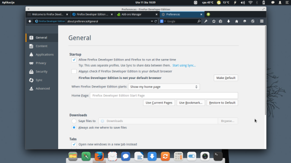Firefox Devloper Edition - General