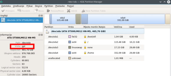 Kubuntu - prikaz statusa diska