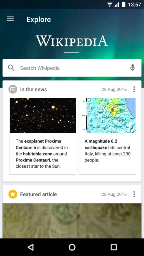 Naslovna stranica Wikipedije u aplikaciji